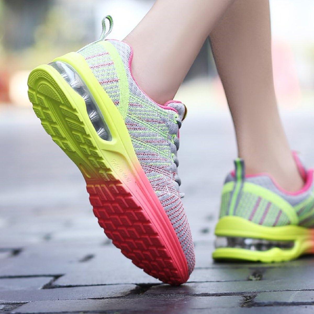 Homme Femme Chaussures de Running Sport Basket Respirante Travail Trail Sneakers Noir Rose Gris 35-46