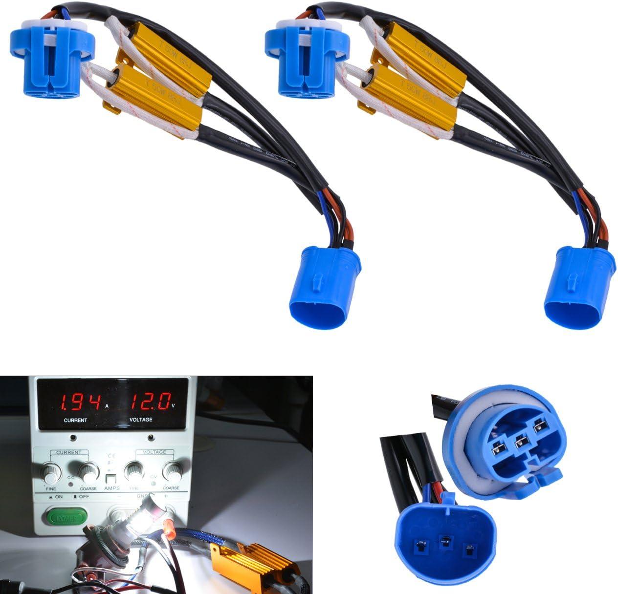 KaTur 2/Pcs 50/W 8/Ohm 9006/9005/Charge R/ésistance connecteur Auto Car LED Tour Signal Ampoules Ampoule de Brouillard Feux de Jour sans Erreur Cancellor Condensateur D/écodeur Fil