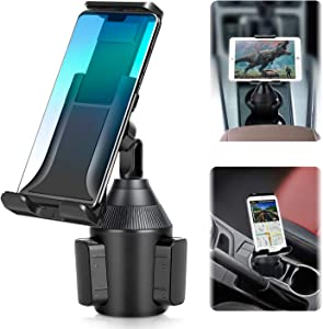 Car Cup Holder Phone/Cup Holder Tablet Holder/Smartphone Mount 2-in-1 Universal Smarts Adjustable cupholder ipad Mount for iPhone,iPad Pro10.5/Sony, Samsung Galaxy Tab/iPhone 11 XR PRO X 8 Plus