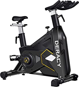 DERACY Indoor Exercise Bike Cycling Stationary Bike, Heavy Duty, Friction-Resistance One-Piece Design, Adjustable Handlebar and Seat, Exercise Bike for Home Gym Workout