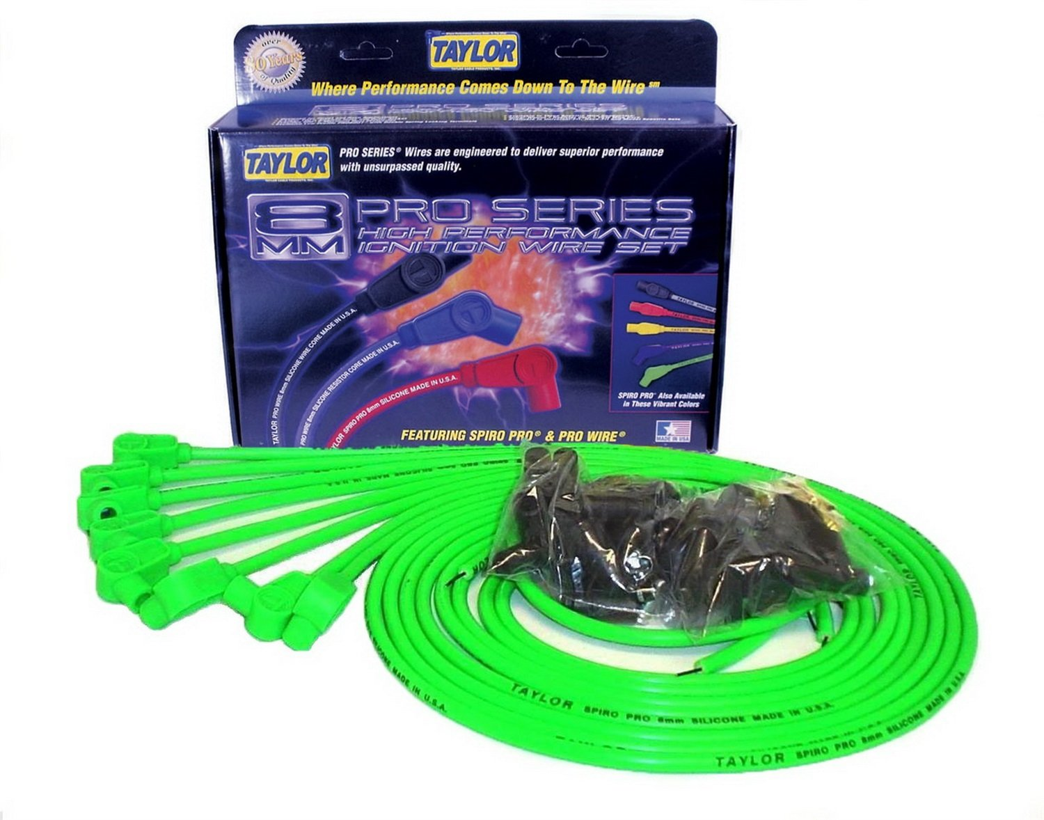 Taylor Cable 78551 Hot Lime 8mm Universal Fit Spiro Pro Spark Plug Wiring Harness Wire Set Automotive