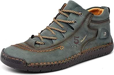 Zapatos Hombre Invierno Planos Mocasines Zapatos de Cuero Casual Fur Forro Cálido Botines Senderismo Trekking Aire Libre Botas