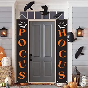 cxwind Halloween Decorations Outdoor - Hocus Pocus Porch Sign - Halloween Decoration Polyester Fabric Banner 2-Pc Set, Décor Banners for Party Yard Wall Outside Door Classroom Office
