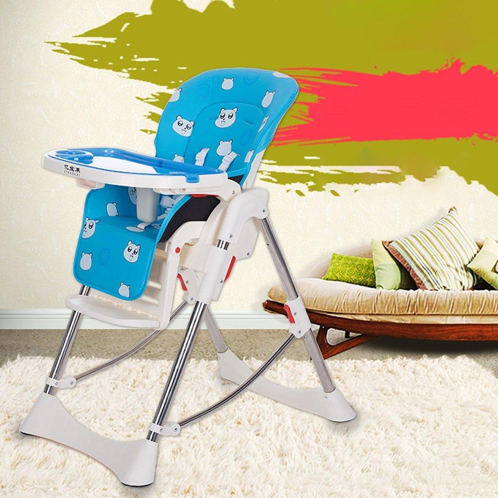 ダイニングチェア赤ちゃん多機能Foldableポータブル子供のダイニングチェアレザー素材(青)54 * 76 * 108センチメートル B07BT3VGK9