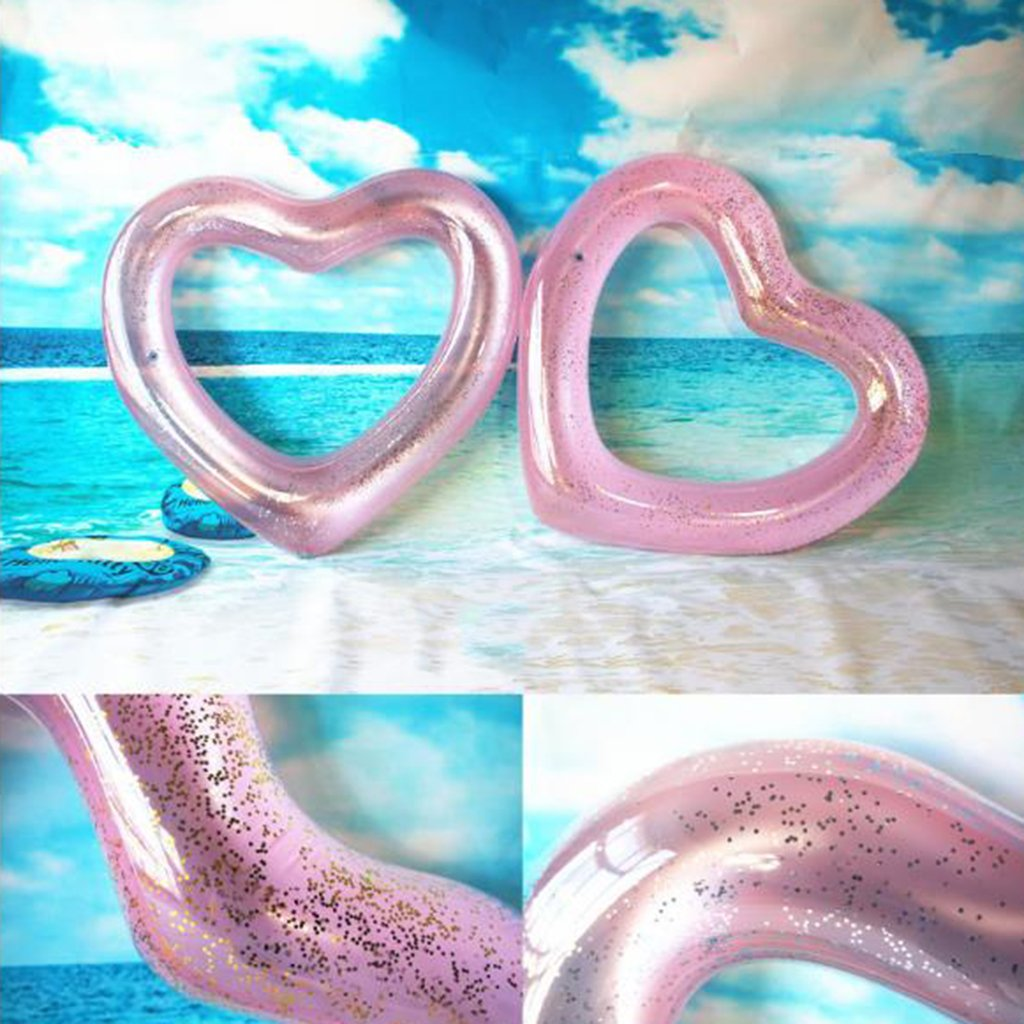 Swimming Circle Love Swimming Circle Thickening Pvc Heart Type Floating Ring Floating Row Adult Models 120Cm Water Toys,Brightpowder11090Cm(Cm) by Xingqianru