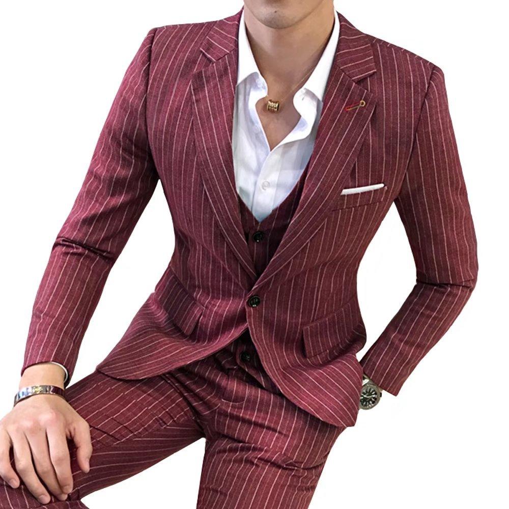 InitialG【イニシャルジー】スーツ メンズ ビジネススーツ 3ピーススーツ テーラードジャケット スラックス ベスト 紳士服 結婚式 スリム ストライプ 008-dsjdc317-tz54(3XL ワイン ) B0758SR1D9 3XL|ワイン ワイン 3XL