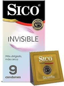 Sico Invisible Ultra Sense Condones de hule látex natural cartera con 9 piezas