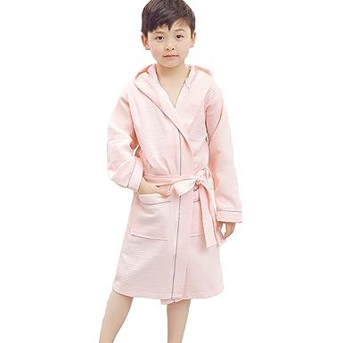 Kids Girls Boys Cotton Bathrobe Toweling Waffle Dressing Gown Hooded Bath  Robe Sleepwear  Amazon.co.uk  Clothing 09b1e0507