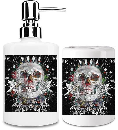 Crazy Skull dispensador de jabón líquido y vaso para cepillo de dientes set| añadir un