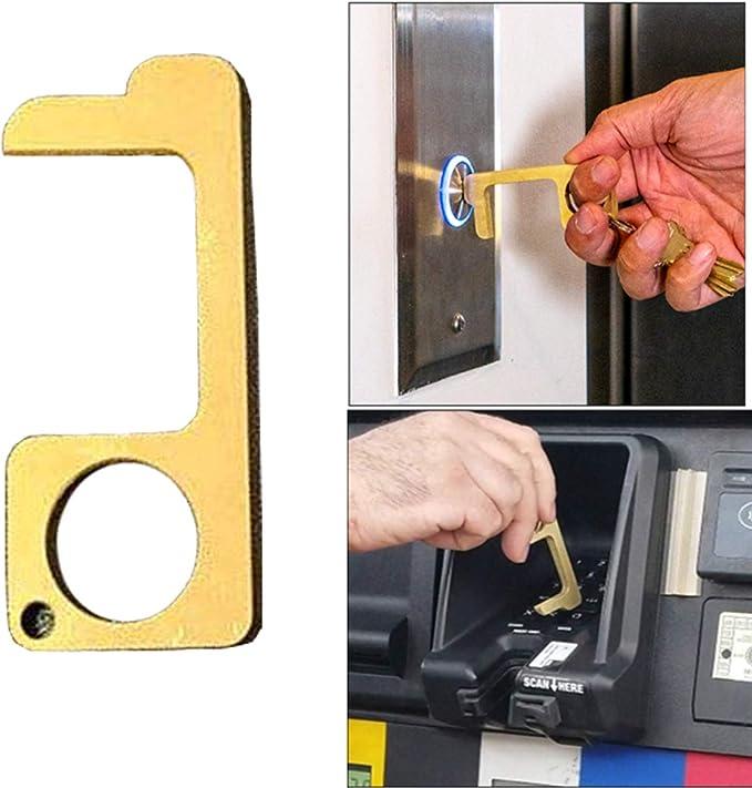 5個 非接触ドアオープナー ポータブル衛生手合金EDCドアオープナーエレベーターハンドルキーホルダー