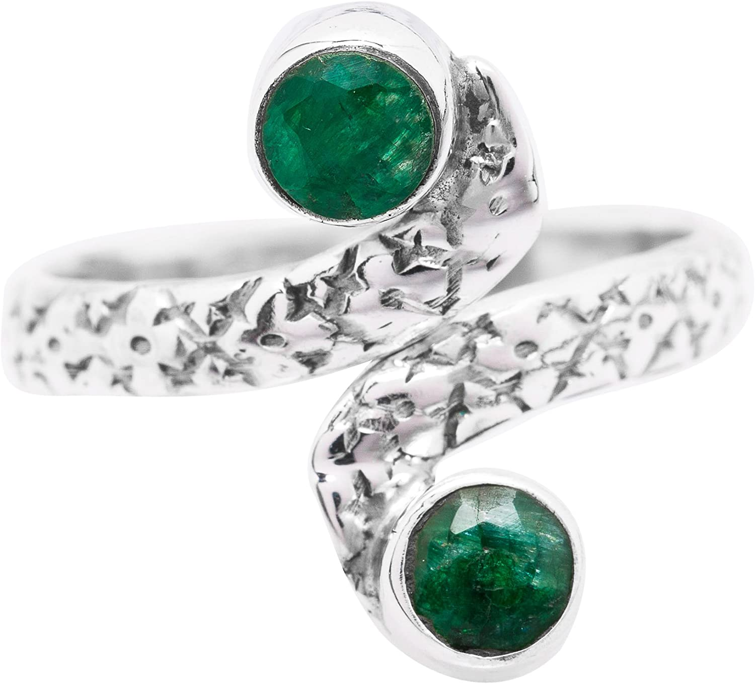Koral Jewelry Sterling Silver Created Emerald Adjustable Midi Knuckle//Toe Ring