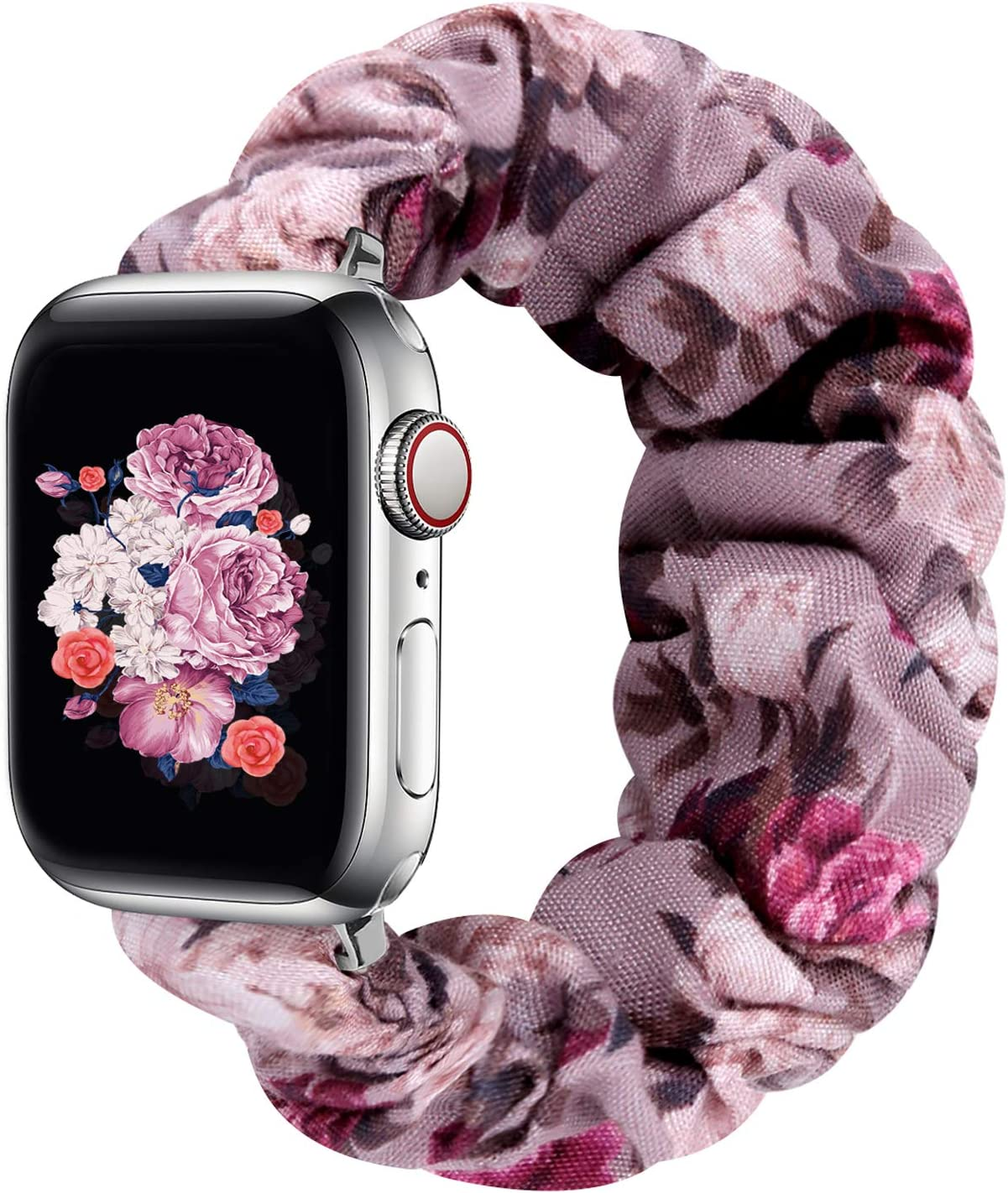 Compatible with Apple Watch Bands 38mm 40mm 42mm 44mm, Elastic Scrunchie Apple Watch Bands for Women, Stretchy iwatch Bands for Apple Watch Series 6 5 4 3 2 1 SE(Purple Floral-42/44M)