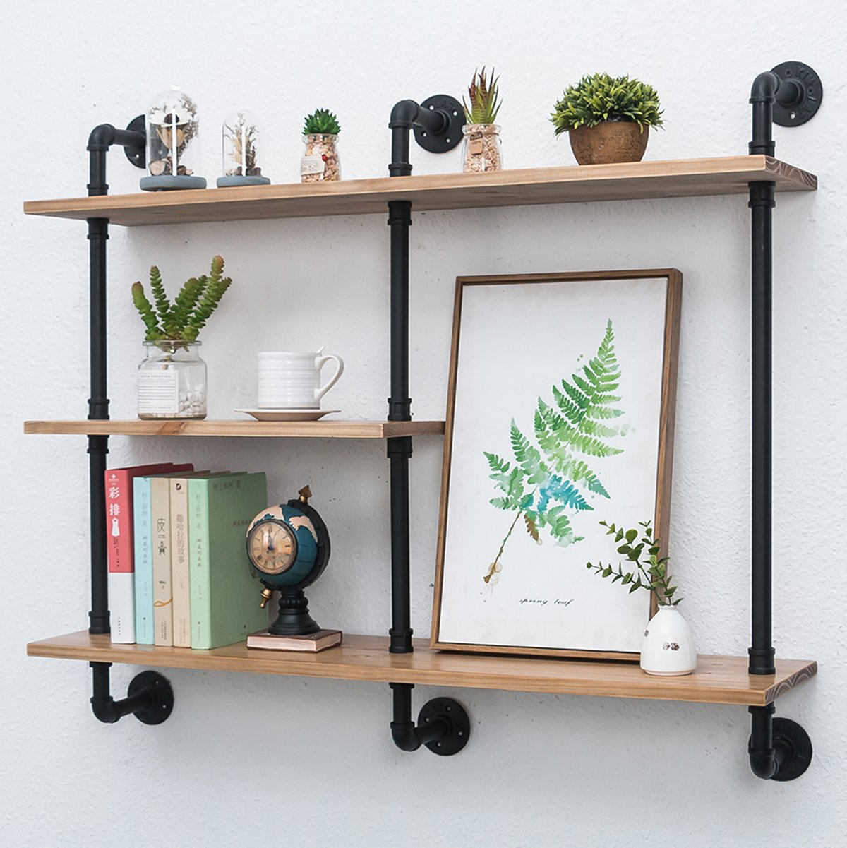 Swell Industrial Pipe Shelf With Wood 43 3In Rustic Wall Mount Shelf 3 Tiers Metal Hung Bracket Bookshelf Diy Storage Shelving Floating Shelves Home Remodeling Inspirations Genioncuboardxyz
