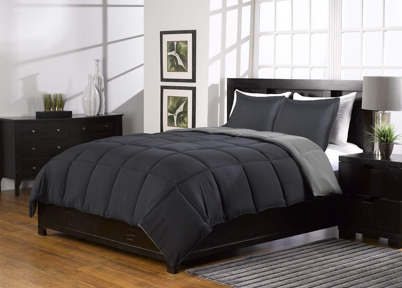 2 Piece Super Soft Reversible Black Gray Alternative Down Comforter Set Twin Size Bedding Set With 2 Reversible Shams Home Kitchen