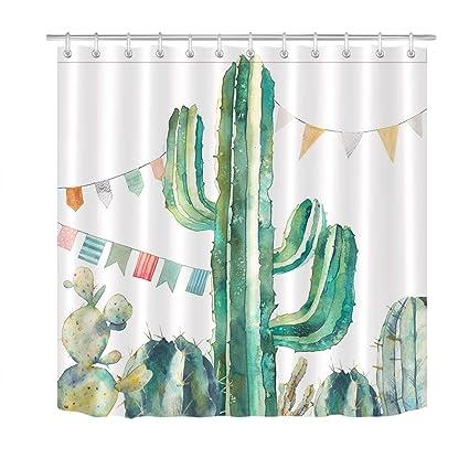 LB Modern Design Cactus Shower Curtain Desert Theme Tropical Plant Green Floral Succulent 60x72