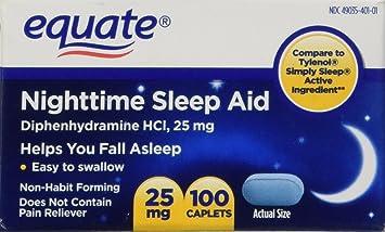 Equate - Nighttime Sleep Aid 25 mg, 100 Mini-Caplets (Compare to SimplySleep