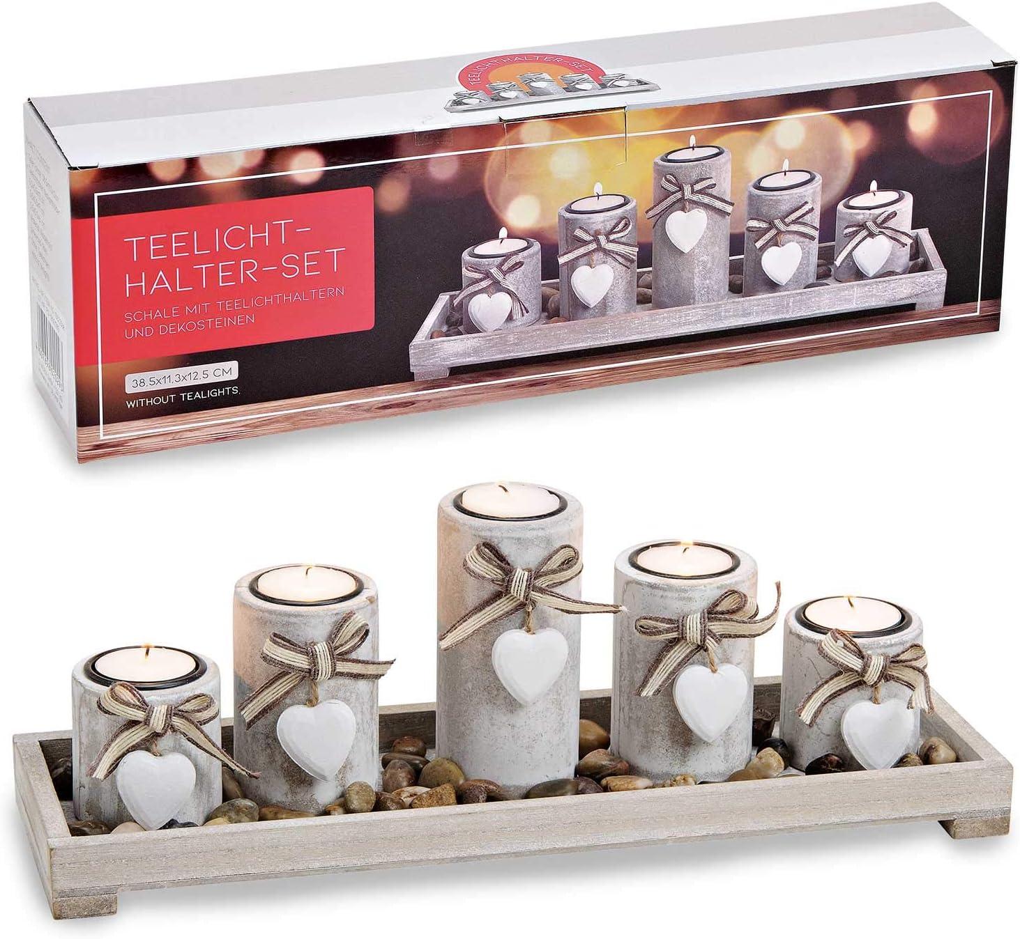 38 x 12 x 11 cm pour 5 Bougies Chauffe-Plat D/écoration de Table Strike Photophore Rustique sur Plateau avec Pierre d/écorative et Pendentif en Forme de c/œur en Bois Blanc