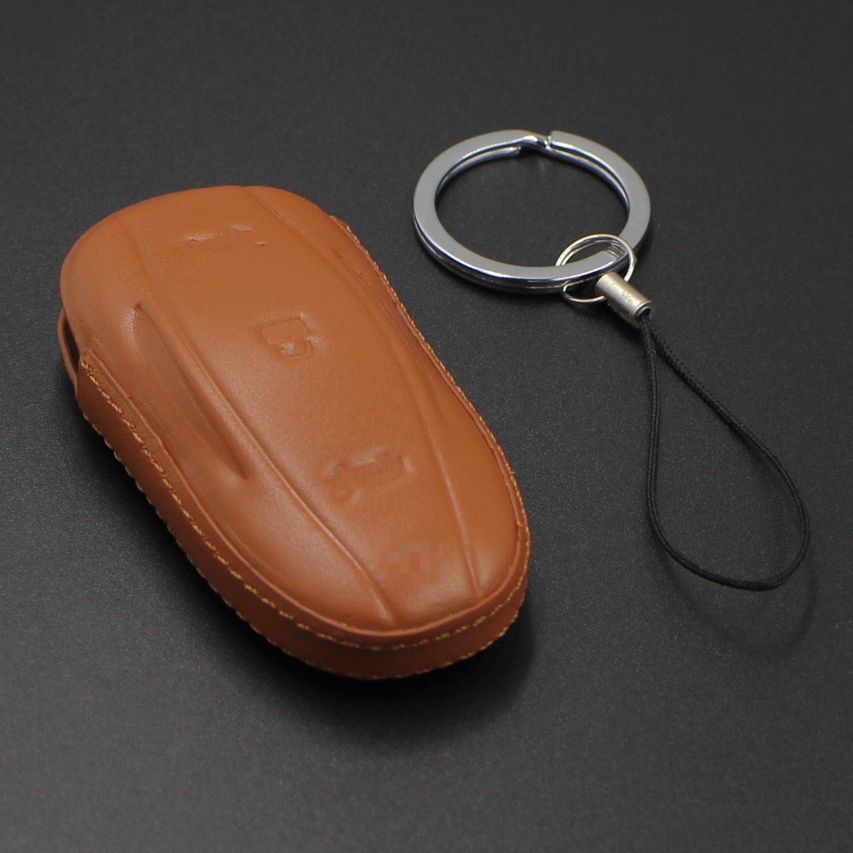 M Jvisun Echtes Leder Fall Abdeckung Für Tesla Model S Schlüssel Autoschlüssel Mit Schlüsselanhänger Für Tesla Model S Braun Auto