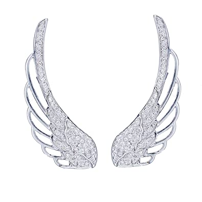 EAR VINES Angel Wings Ear Cuff Pins CZ Crystal Hook Earrings Silver Tone 5qW5N3SNZi
