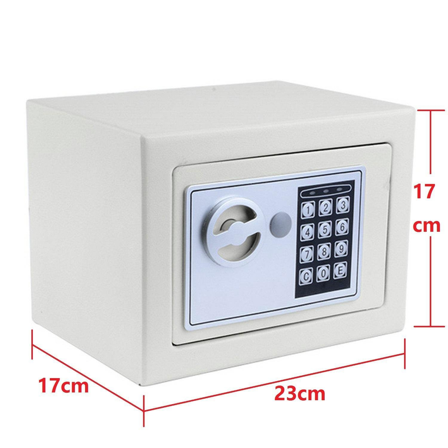 Solid Steel Security Digital Electronic Safe Box with Deadbolt Lock Wall-Anchoring Design for Jewelry, Gun, Cash Valuable, 8.9'' X 6.5'' X 6.5'' White