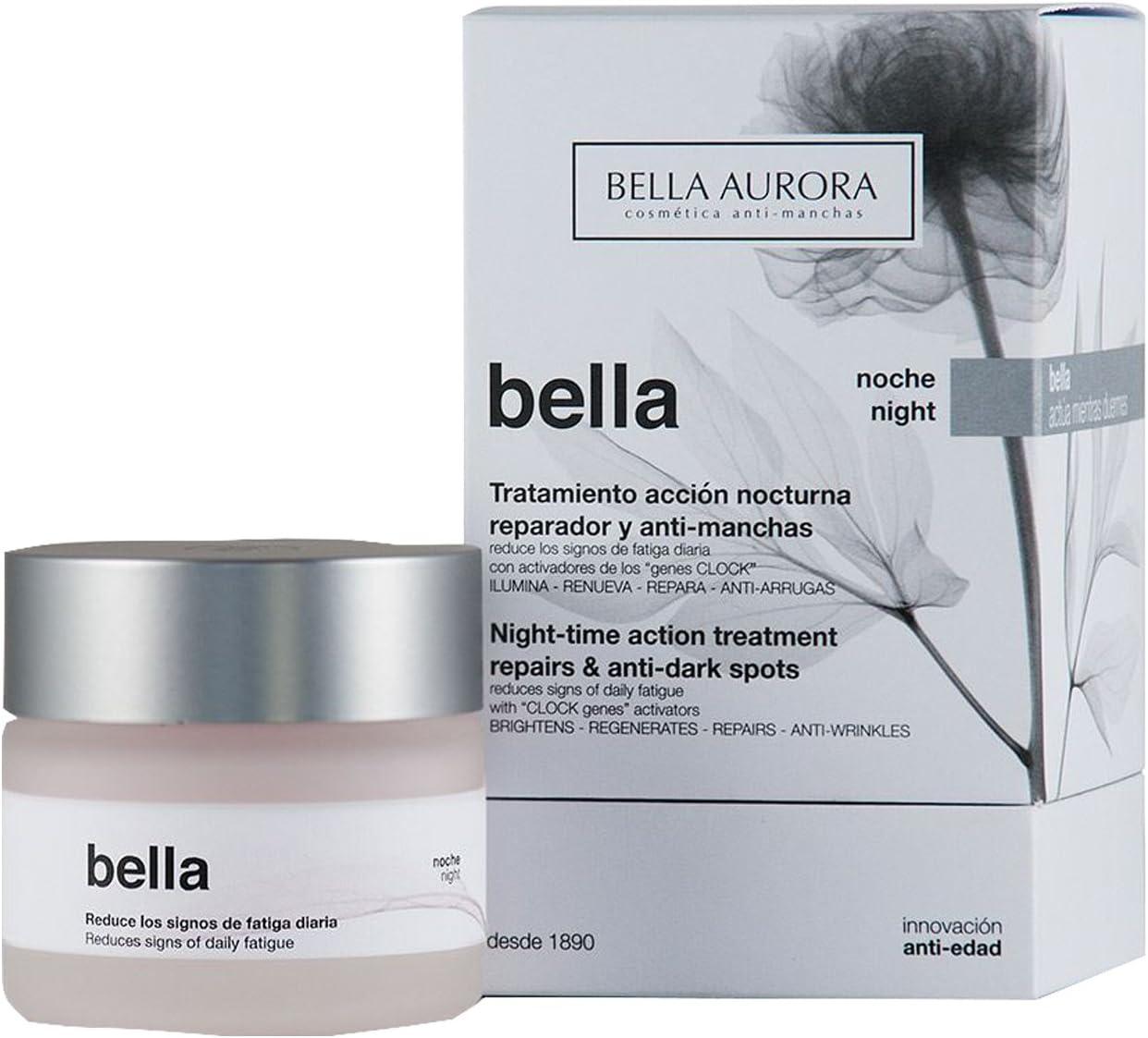 Bella Aurora Bella Crema Facial Noche Anti-Arrugas y Anti-Edad para Mujer Tratamiento Reparador Anti-Manchas de acción Nocturna, 50 ml
