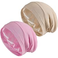 Women's Sleeping Cap, 2-Pack Satin Silk Lined Night Cap Sleep Bonnet Slouchy Beanie Hat for Hair Loss Cancer Chemo