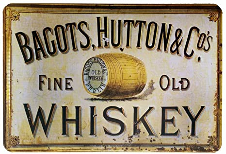 Toddrick Bagots,Hutton Fine Old Whiskey Cartel de hojalata ...