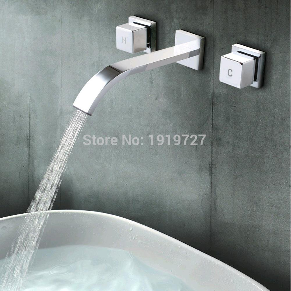 HYY@ Polished Chrome Wall Faucet Bathroom Basin Faucet Wall Mounted Faucet Bathroom Waterfall Faucet Water Tap Mixer Tap durable service