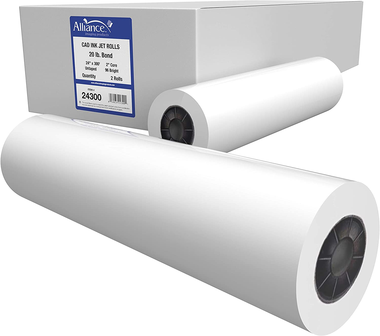 "Alliance CAD Paper Rolls, 24"" x 300', 96 Bright, 20lb - 2 Rolls Per Carton - Ink Jet Bond Rolls with 2"