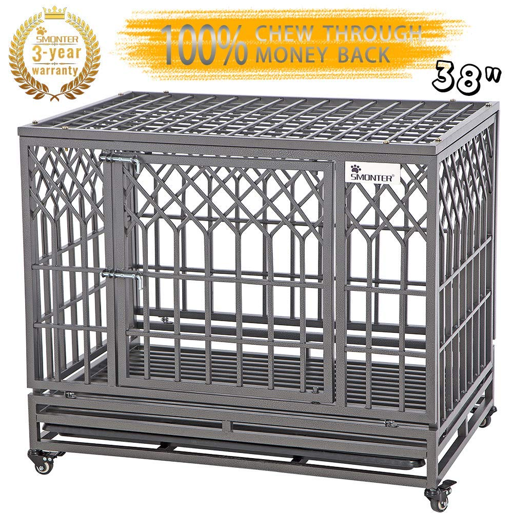 SMONTER 38'' Heavy Duty Dog Crate Strong Metal Pet Kennel Playpen with Two Prevent Escape Lock, Large Dogs Cage with Wheels, Y Shape, Dark Silver … …