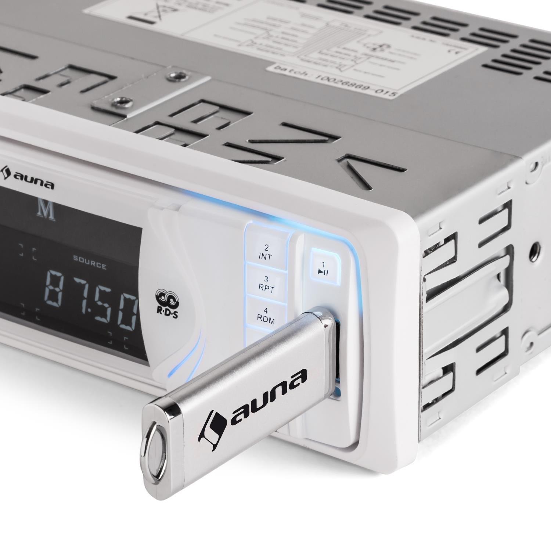 auna MD-130 /• Autoradio /• Car-Radio /• Car-HiFi-Set /• Bluetooth-Schnittstelle /• USB-Slot /• SD//MMC-Slot /• UKW-Radiotuner /• MP3 /• 3 5mm-Klinke-AUX-Eingang /• Stereo-Cinch-Line-Ausgang /• Freisprechanlage /&