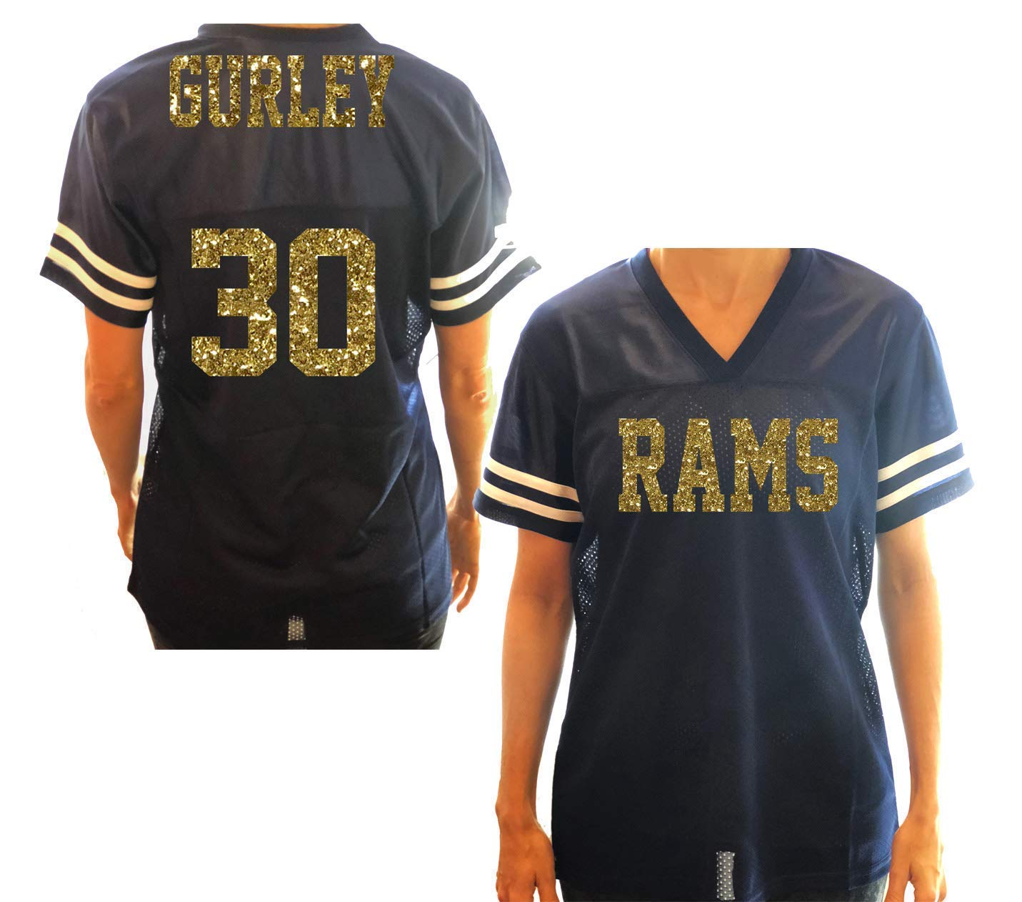 c830608d43b Amazon.com: Rams Women's Jersey Shirt - or Any Football Team and Favorite  Colors - Navy Gold Glitter Silver Black White Red: Handmade