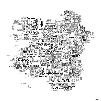 Map Of Ireland Black And White.Amazon Com Typographic Map Of Connacht Ireland 24 X24 Black On