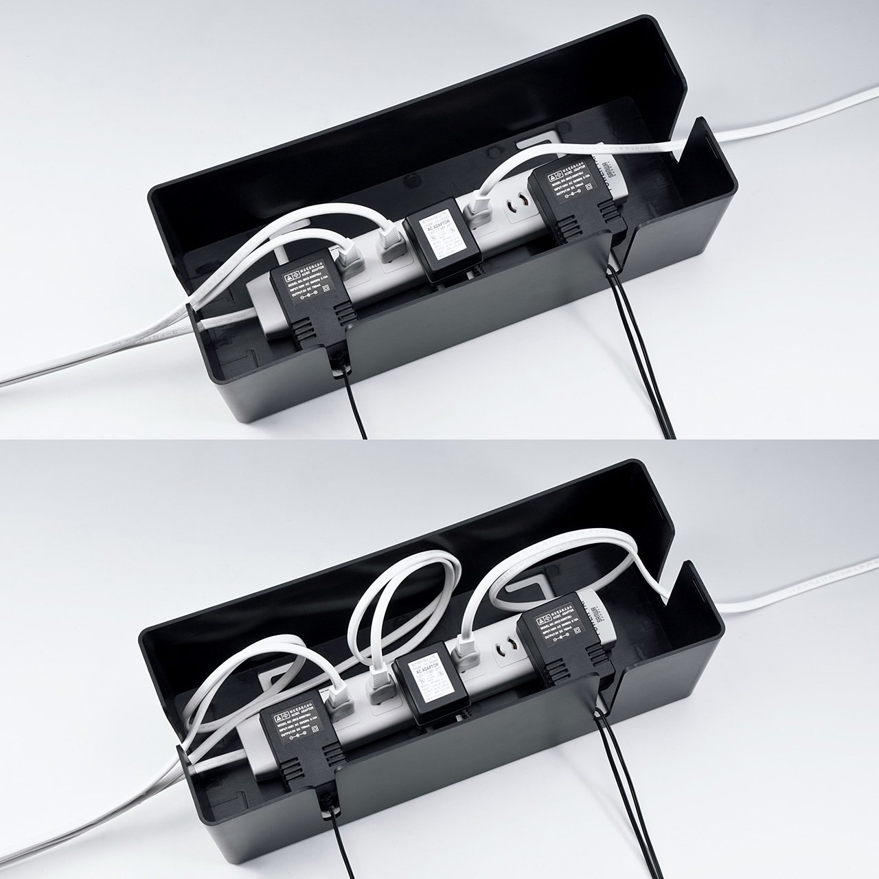 サンワサプライ ケーブル&タップ収納ボックス Lサイズ ブラック CB-BOXP3BKN2
