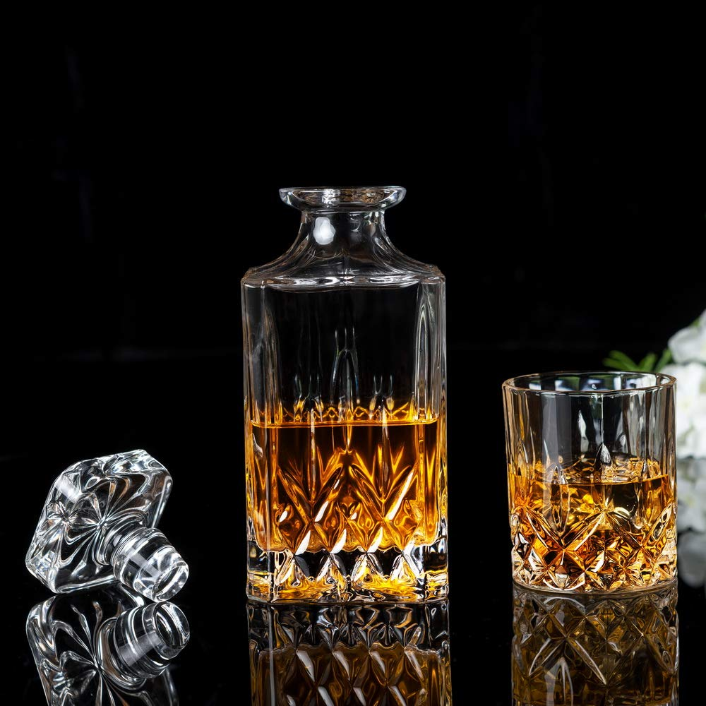 KANARS Whiskey Decanter And Glass Set In Unique Luxury Gift Box - Original Crystal Liquor Decanter Set For Bourbon, Scotch or Whisky, 5-Piece by KANARS (Image #2)