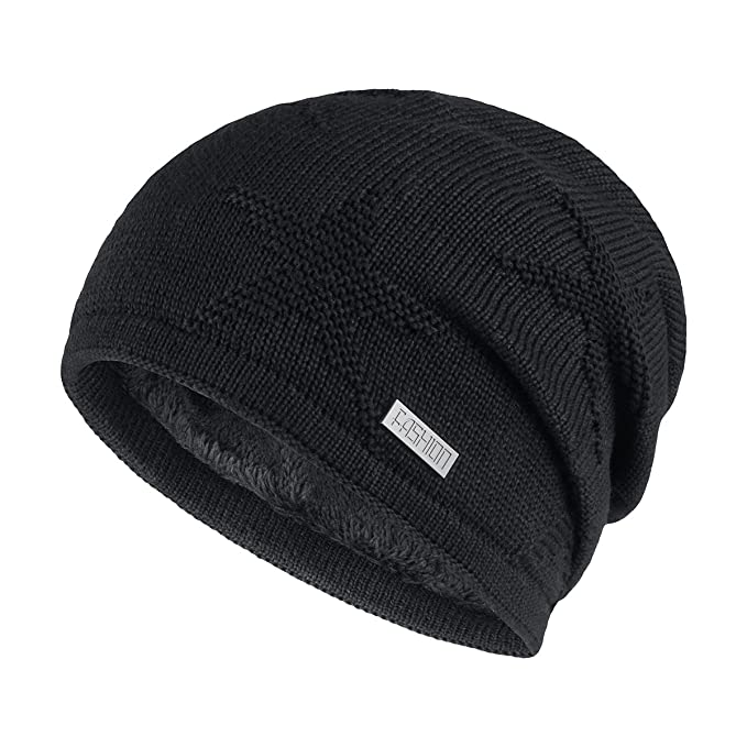 8ab9e4bb OMECHY Winter Knit Slouchy Beanie Hat Unisex Daily Warm Ski Skull Cap,Black