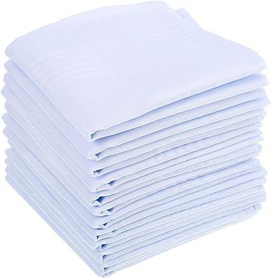 15 Piezas de Pañuelo de Algodón Blanco Puro Pañuelo de Bolsillo Cuadrado Grande para Hombres: Amazon.es: Ropa y accesorios