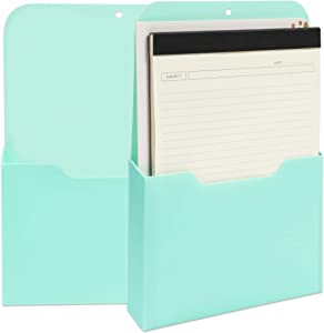 Magnetic Wall File for Organization (9.5 x 12.5 x 1.1 in, Mint, 2 Pack)