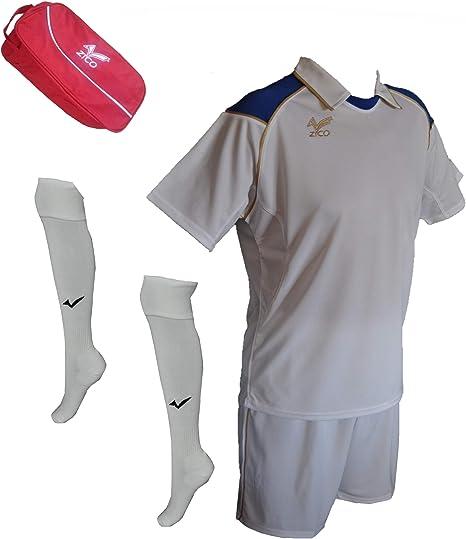 ZICO ESPAÑA Conjunto equipación Fútbol Hombre Blanco- Azull, Camiseta-pantalón+Medias, (M): Amazon.es: Deportes y aire libre