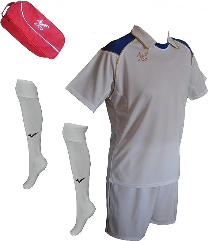 ZICO ESPAÑA Conjunto equipación Fútbol Hombre Blanco- Azull ...