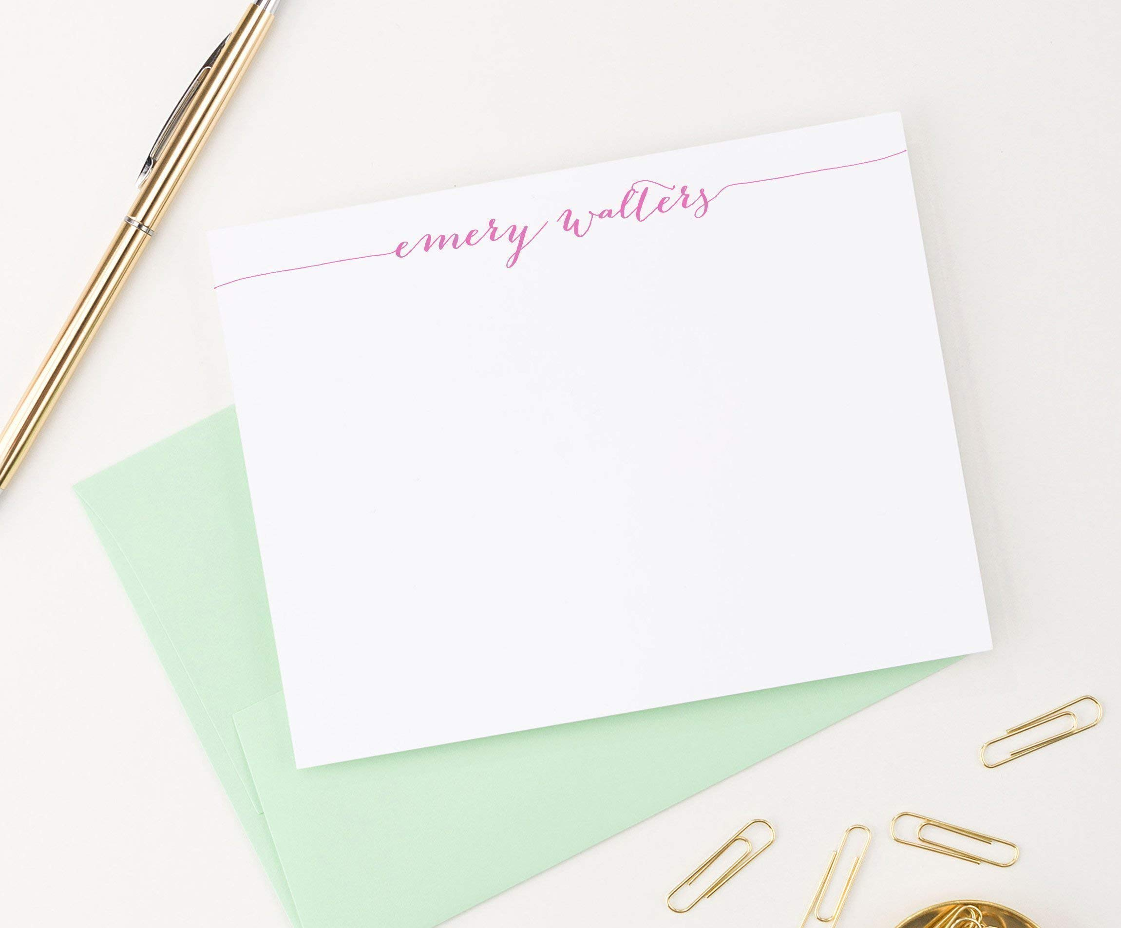 Calligraphy Personalized Stationery Set, Personalized Note cards, Your Choice of Colors, Set of 10 flat note cards and envelopes