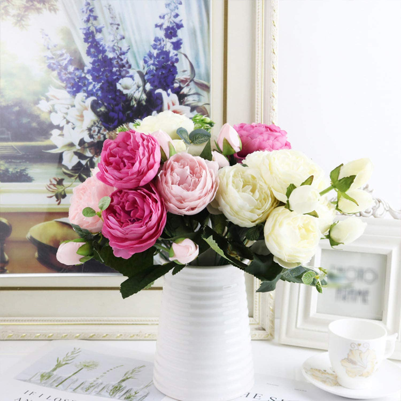 1 bundle Silk Peony bouquet home flowers roses artificial pompons diy plants
