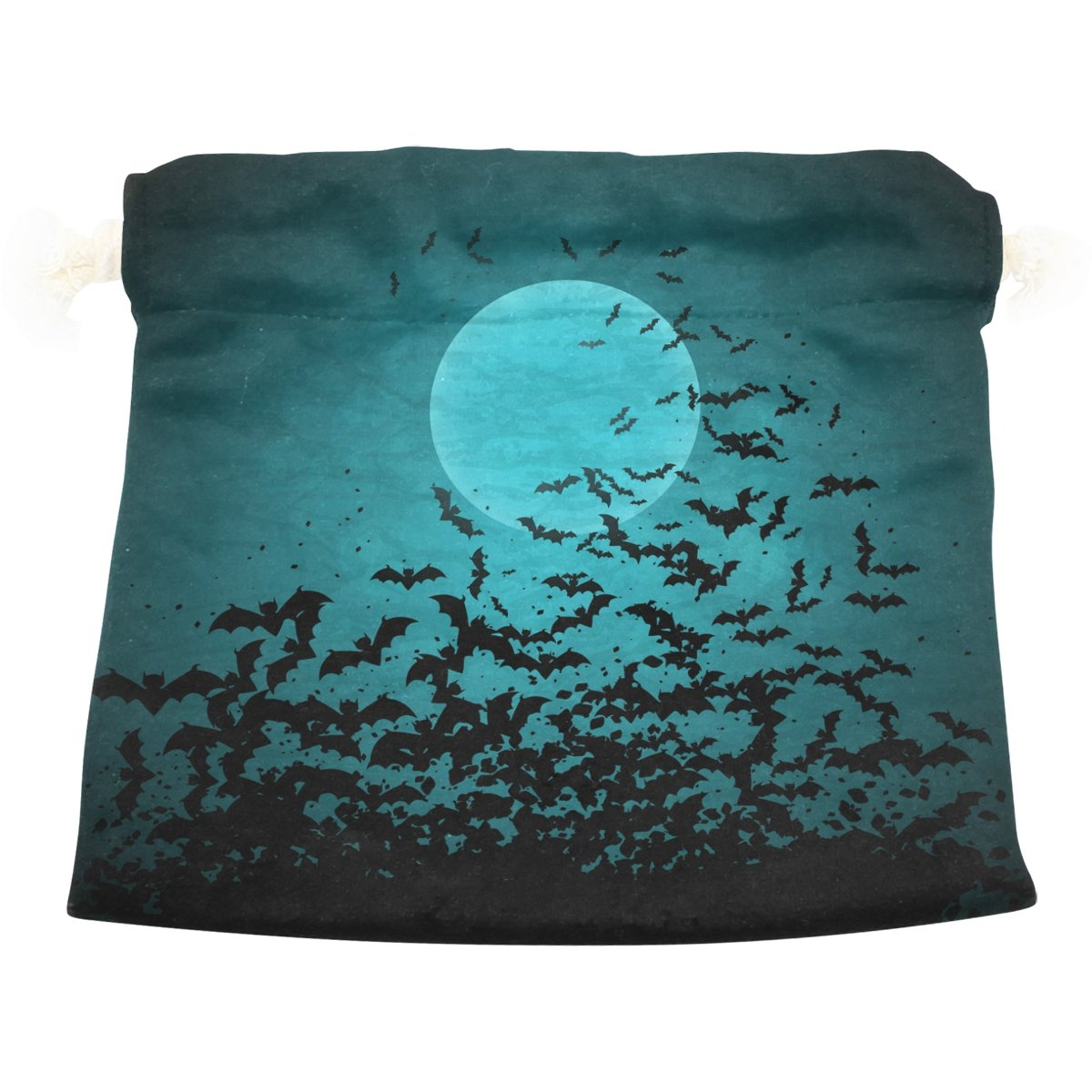 Dragon Sword Halloween Moon And Bats Gift Bags Jewelry Drawstring Pouches for Wedding Party, 5.5x5.5 Inch