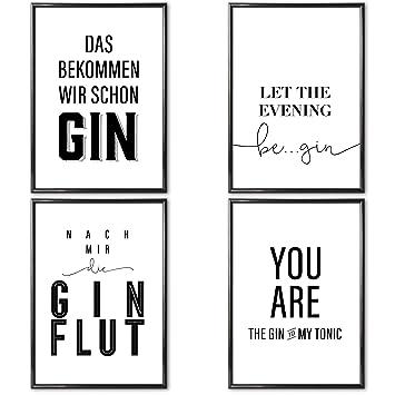 gin sprüche VERSCHIEDENE Poster Set 's » Gin Tonic « 4 x DIN A4 auch mit  gin sprüche