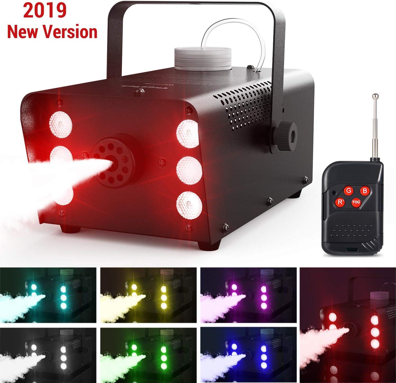 Máquina de Niebla con 7 Colores 6 LEDs Luces Theefun Portátil Máquina de CO2 Máquina de Humo con Control Remoto para Fiesta Matrimonio Cumpleaños Fiesta Partido Teatro Discoteca DJ Escenario