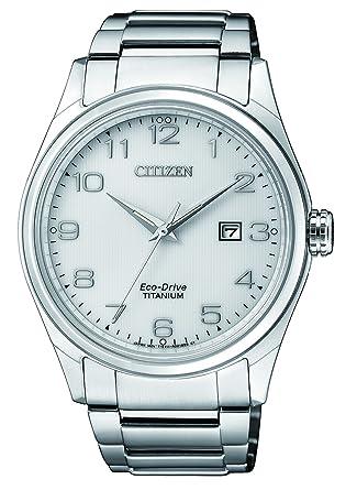 Citizen Reloj Análogo clásico para Hombre de Energía Solar con Correa en Titanio BM7360-82A: Amazon.es: Relojes