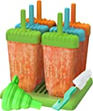 Set of 6 Reusable Popsicle Molds Ice Pop Molds Maker by Ozera, With Silicone Funnel & Cleaning Brush, Multicolors