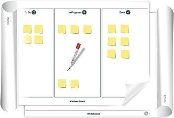 Vi-Board Kanban Board/Whiteboard: beschreib- & abwischbares mobiles Whiteboard Poster. Einroll- & wiederverwendbar, Vorderseite: Kanban Vorlage, Rückseite: Whiteboard, Größe: ca. 85 x 118 cm