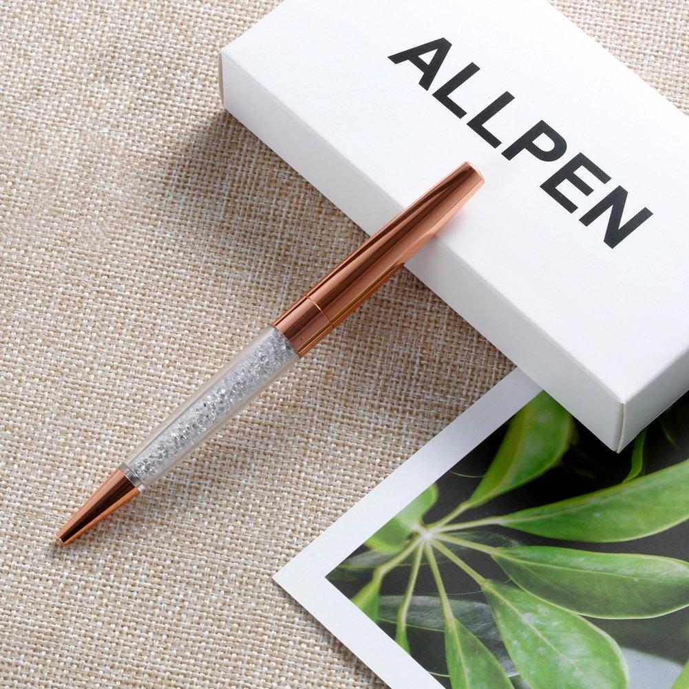 ALLPEN 12Pcs Rose Gold Pen Bling Diamond Crystal Pens Black Ink Metal Ballpoint Rhinestone Pen for Gift or Office Supplies by ALLPEN (Image #4)
