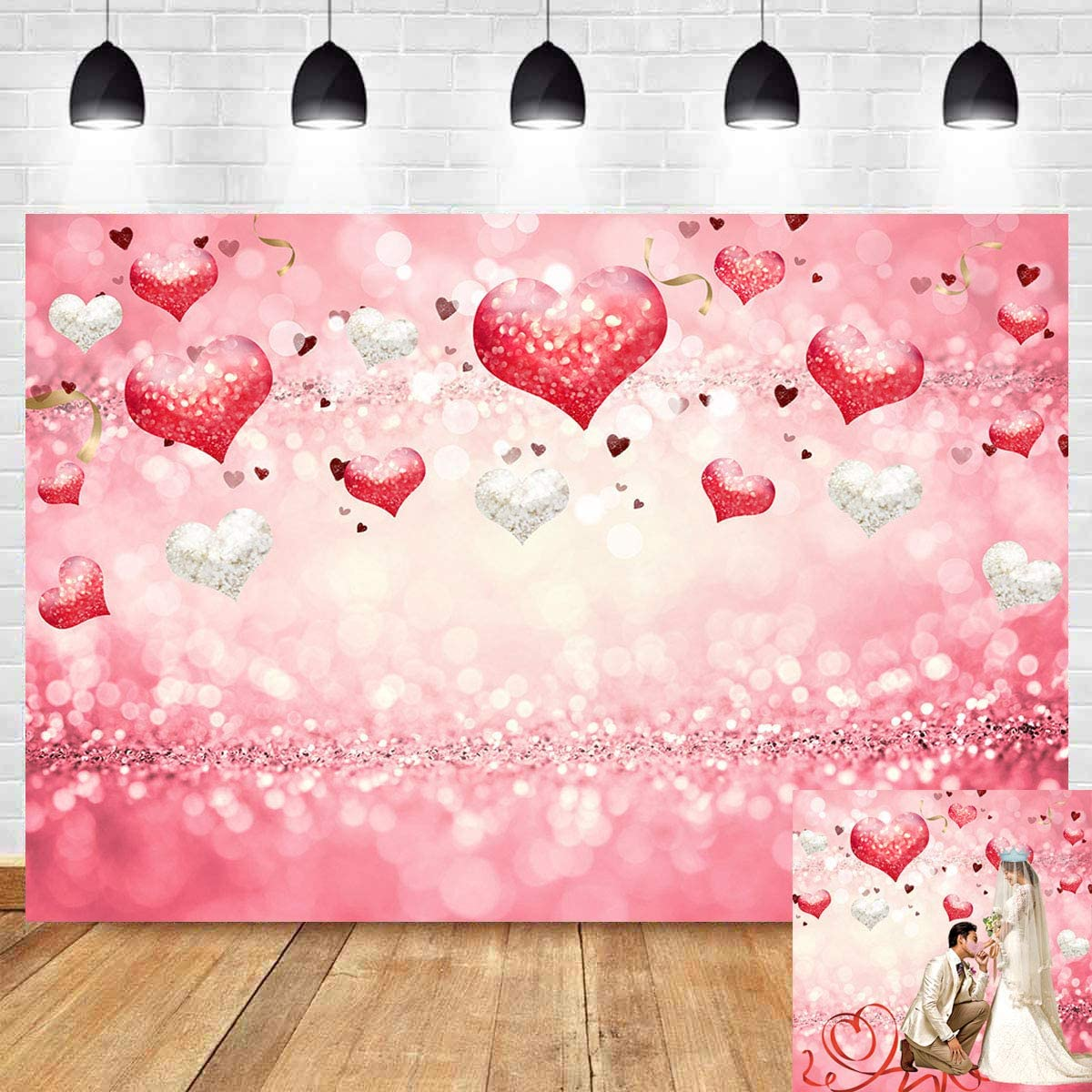 Valentines Fish Tank Backdrop Poster Doodle Style Hearts with Different Designs Romantic Inspirations for Art Baby Shower Backdrop Kids Children Birthday Party Black Red Pink L30 X H12 Inch